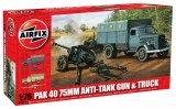 Pak 40 75mm anti-tank gun and truck